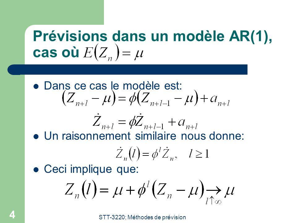 STT-3220; Méthodes de prévision 4 Prévisions dans un modèle AR(1), cas où  Dans ce cas le modèle est:  Un raisonnement similaire nous donne:  Ceci implique que: