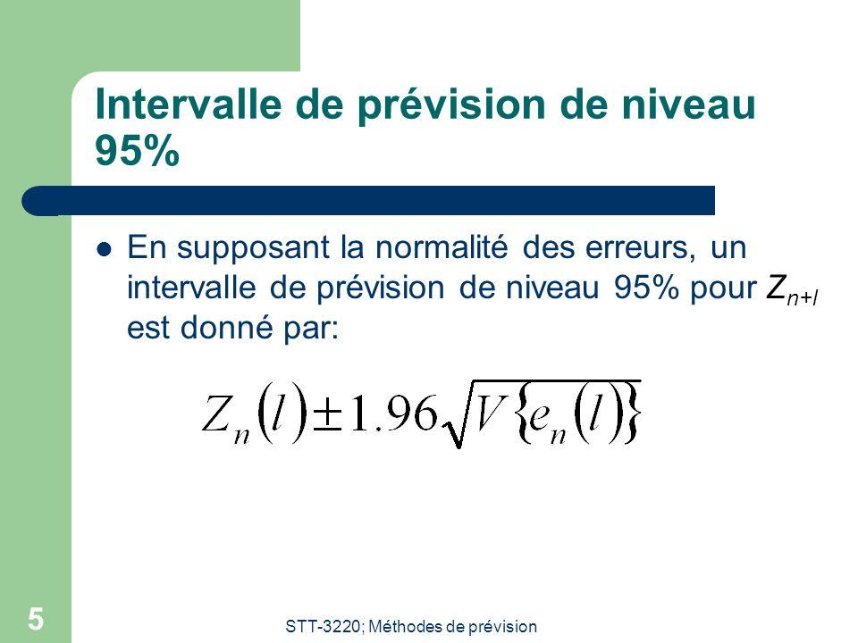 STT-3220; Méthodes de prévision 5 Intervalle de prévision de niveau 95%  En supposant la normalité des erreurs, un intervalle de prévision de niveau 95% pour Z n+l est donné par: