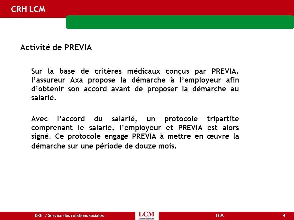 4LCMDRH / Service des relations sociales CRH LCM Activité de PREVIA Sur la base de critères médicaux conçus par PREVIA, l'assureur Axa propose la déma