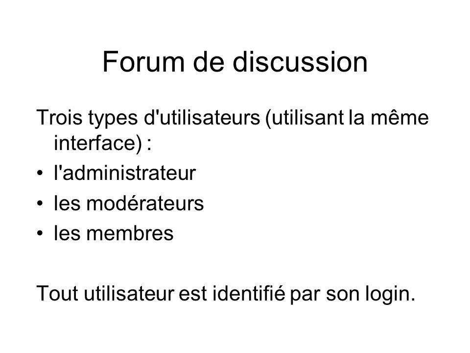 Description •Un forum est composé de plusieurs groupes de discussion (ou thématiques) •Chaque groupe a un responsable, appelé modérateur, qui vérifie le respect de la charte du forum par les membres •L administrateur du forum peut créer de nouveaux groupes de discussion et désigne les modérateurs