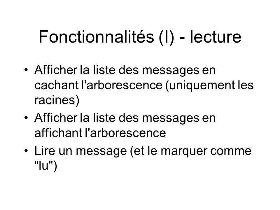 Fonctionnalités (II) - Recherche •Rechercher un message selon différents critères: –auteur –période –termes dans le titre –termes dans le texte du message –messages les plus lus