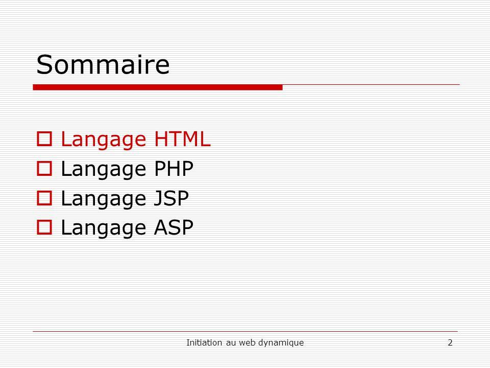 Initiation au web dynamique2 Sommaire  Langage HTML  Langage PHP  Langage JSP  Langage ASP