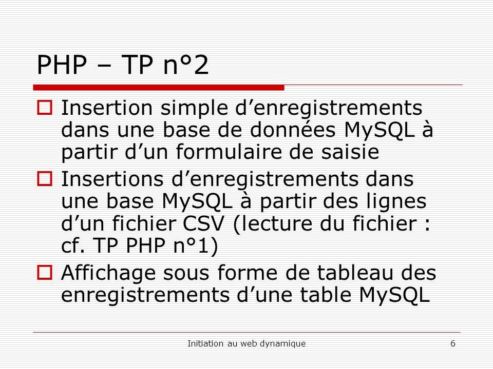 Initiation au web dynamique6 PHP – TP n°2  Insertion simple d'enregistrements dans une base de données MySQL à partir d'un formulaire de saisie  Ins