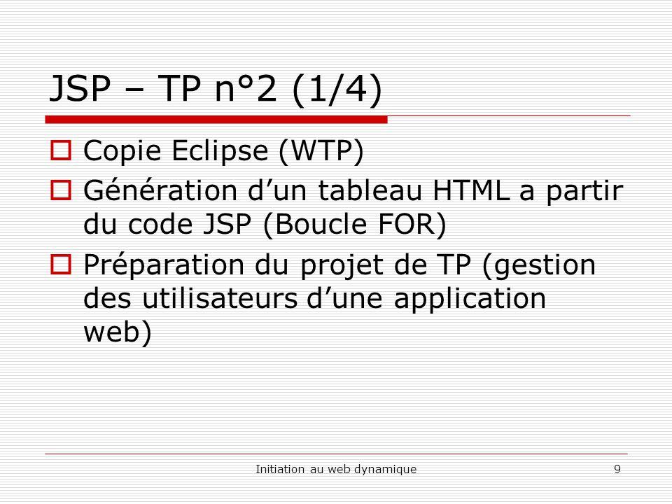 Initiation au web dynamique9 JSP – TP n°2 (1/4)  Copie Eclipse (WTP)  Génération d'un tableau HTML a partir du code JSP (Boucle FOR)  Préparation d