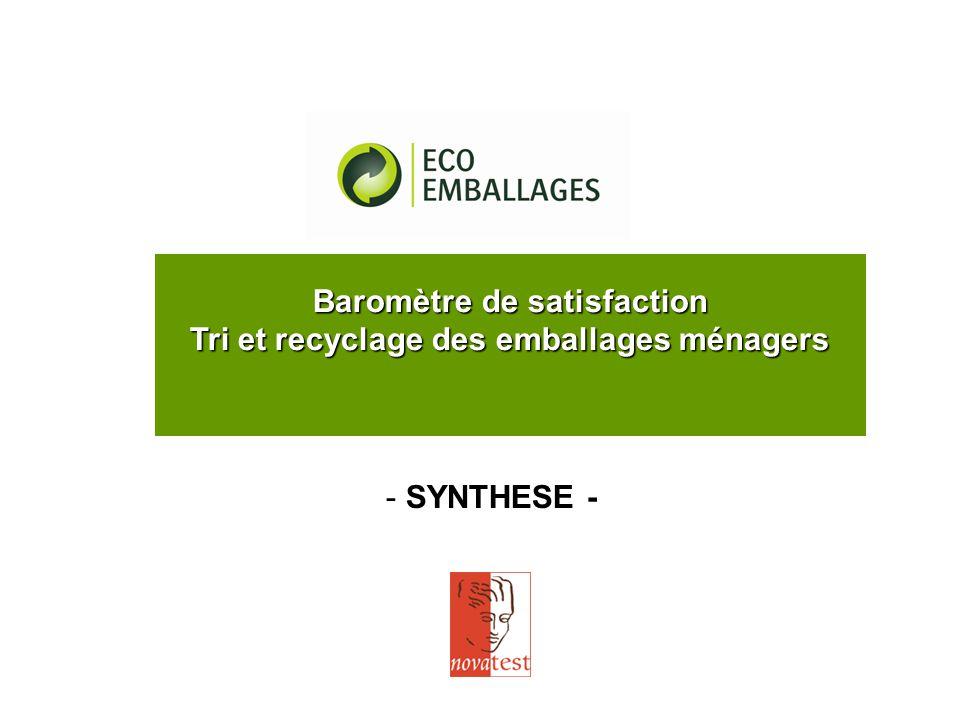 - SYNTHESE - Baromètre de satisfaction Tri et recyclage des emballages ménagers
