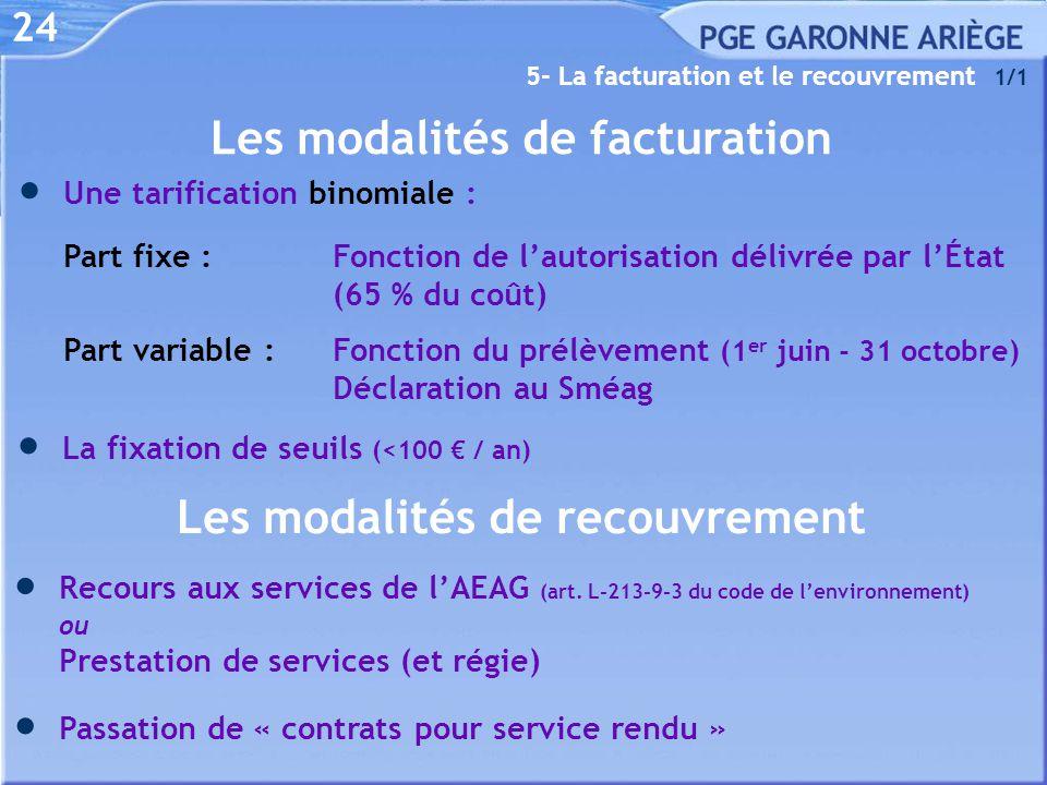 24 5- La facturation et le recouvrement 1/1  Recours aux services de l'AEAG (art. L-213-9-3 du code de l'environnement) ou Prestation de services (et
