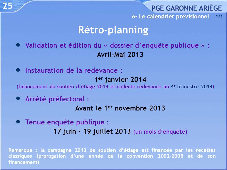 25 6- Le calendrier prévisionnel Rétro-planning  Instauration de la redevance : 1 er janvier 2014 (financement du soutien d'étiage 2014 et collecte r