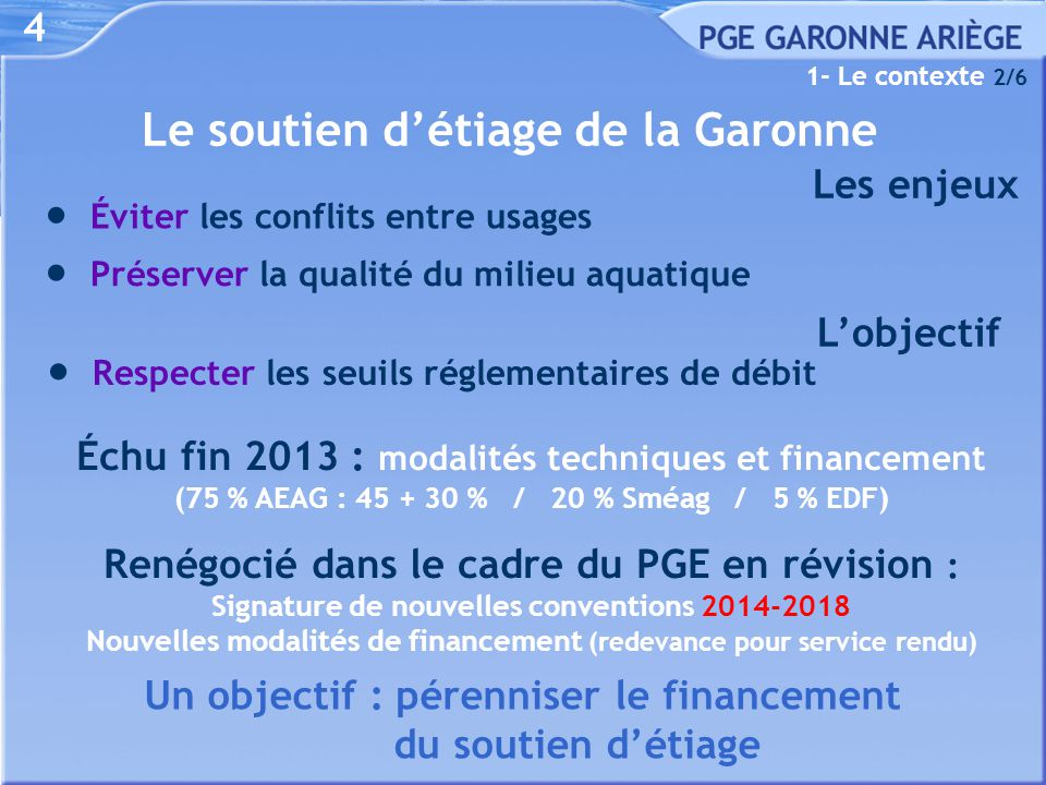 Le linéaire bénéficiant actuellement des réalimentations Du 1 er juillet au 31 octobre Réserves « IGLS » (46 hm 3 ) À partir de la mi-septembre Lac de Montbel (≤ 7 hm 3 ) 5 Du 15 août au 31 octobre Lac d'Oô (5 hm 3 ) Garonne amont (éviter l'alerte) 1- Le contexte 2/2 Garonne aval (éviter l'alerte)