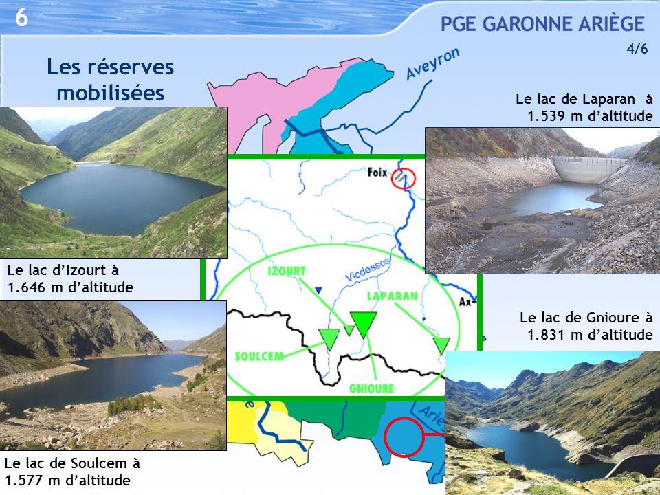 IZOURT / GNIOURE LAPARAN / SOULCEM du 01/07 au 31/10 10-15 m 3 /s 46 hm 3 (sur 79) 6 Les réserves mobilisées Le lac d'Izourt à 1.646 m d'altitude Le l