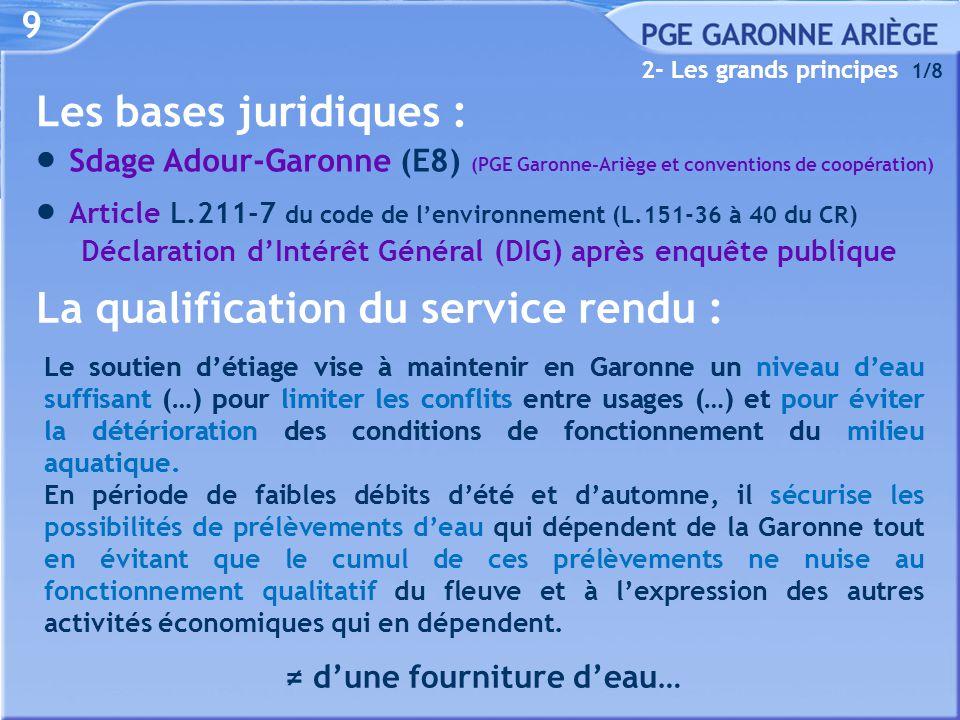 9 Les bases juridiques :  Sdage Adour-Garonne (E8) (PGE Garonne-Ariège et conventions de coopération)  Article L.211-7 du code de l'environnement (L