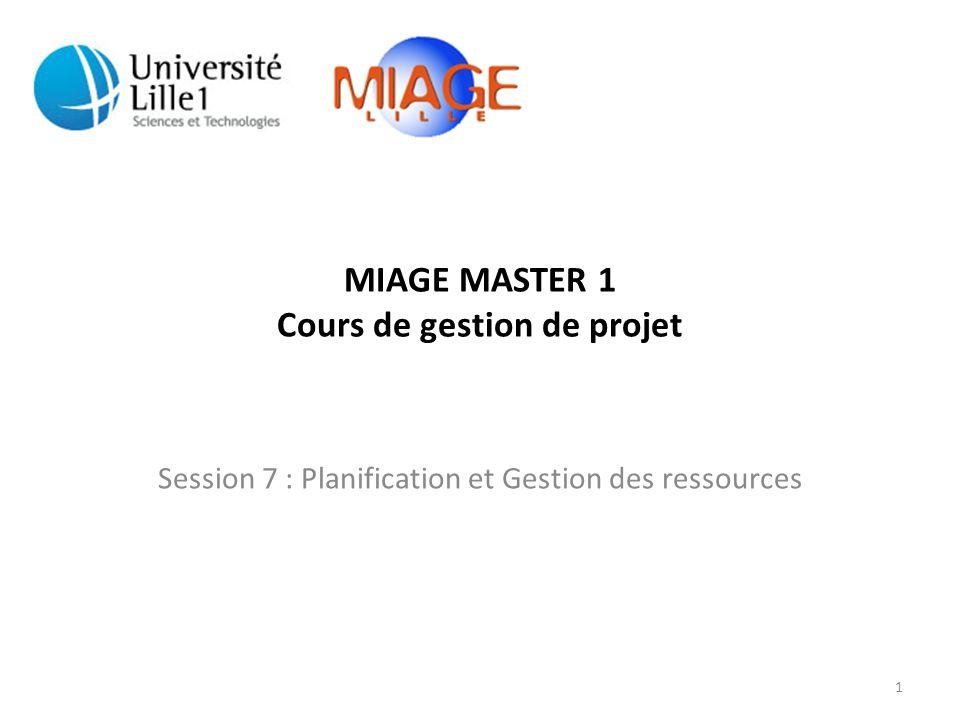 MIAGE 1: Cours de gestion de projet Session 7 : Planification et gestion des ressources d'un projet Questions sur le cours précédent • Une ressource d'encadrement gère combien de personnes en moyenne .