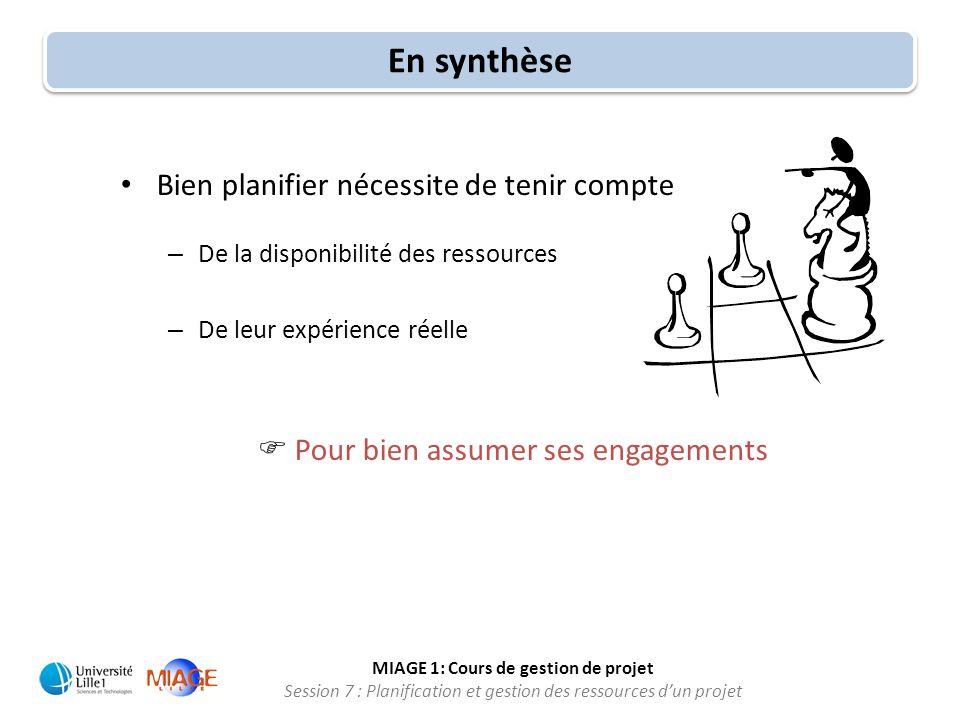 MIAGE 1: Cours de gestion de projet Session 7 : Planification et gestion des ressources d'un projet En synthèse • Bien planifier nécessite de tenir co