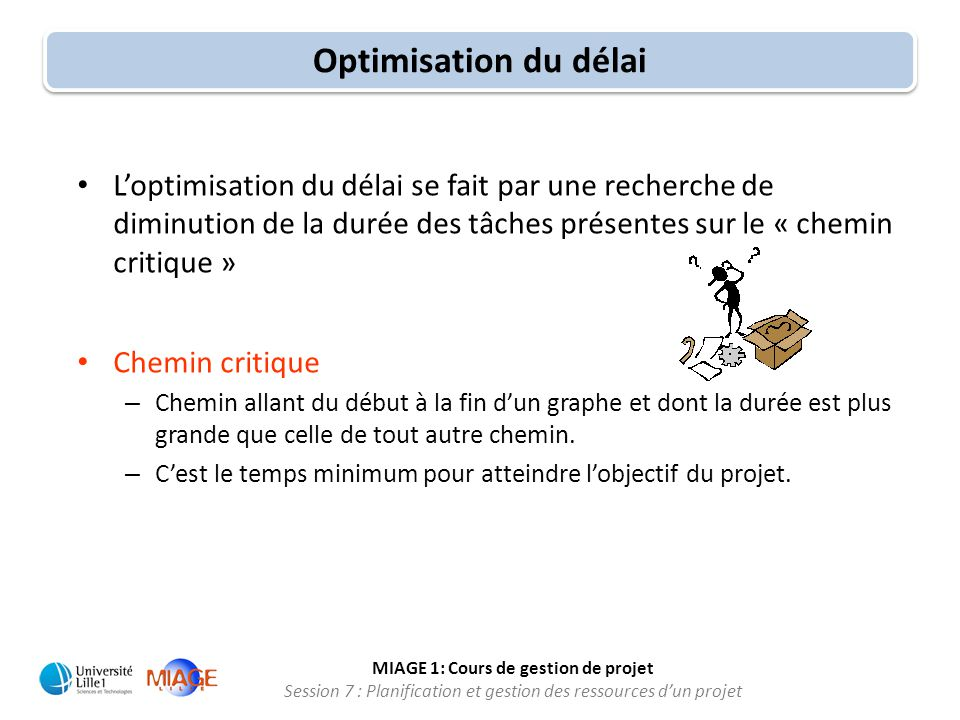 MIAGE 1: Cours de gestion de projet Session 7 : Planification et gestion des ressources d'un projet Optimisation du délai • L'optimisation du délai se
