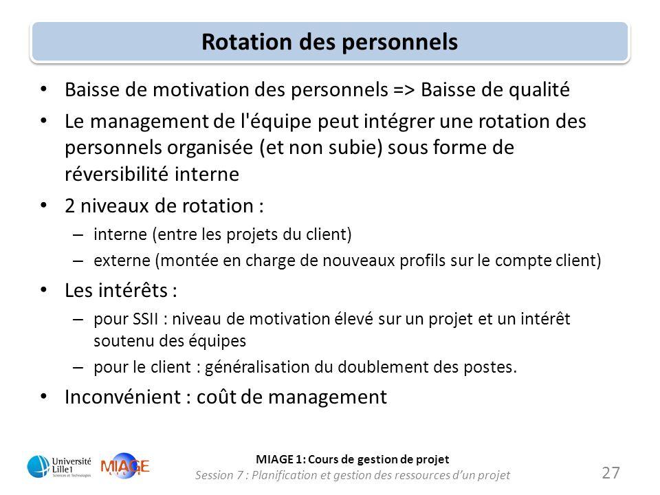 MIAGE 1: Cours de gestion de projet Session 7 : Planification et gestion des ressources d'un projet Rotation des personnels • Baisse de motivation des