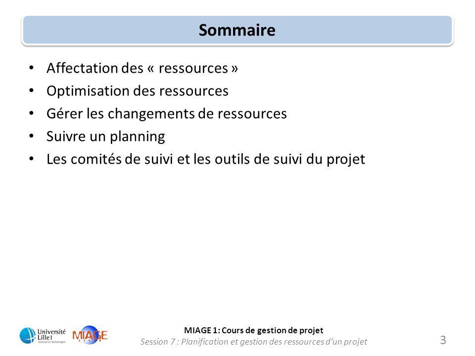 MIAGE 1: Cours de gestion de projet Session 7 : Planification et gestion des ressources d'un projet Sommaire • Affectation des « ressources » • Optimi