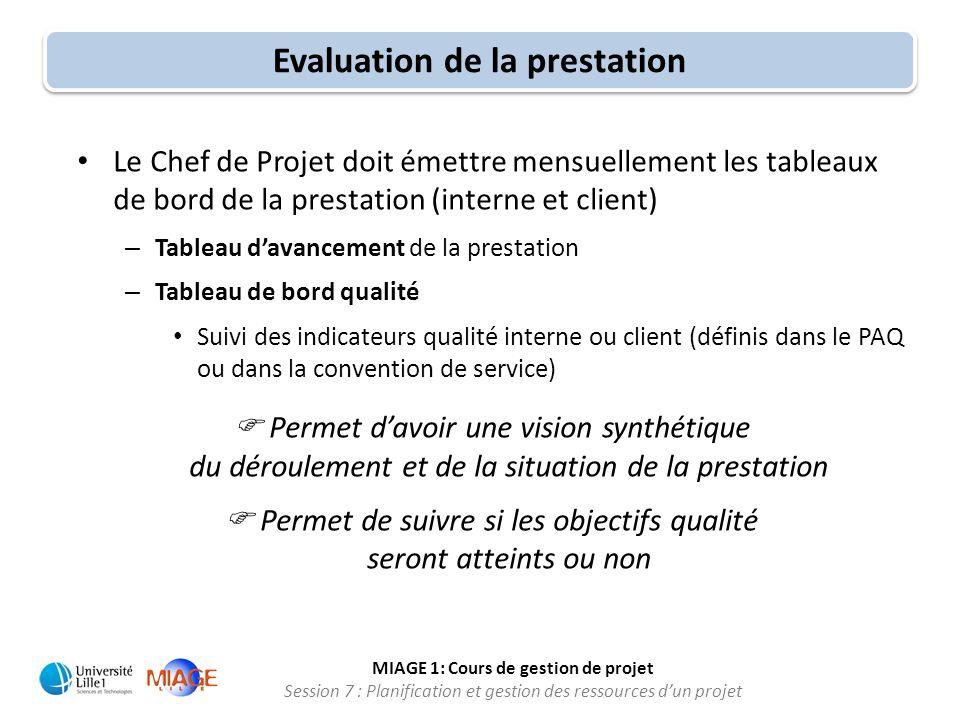 MIAGE 1: Cours de gestion de projet Session 7 : Planification et gestion des ressources d'un projet Evaluation de la prestation • Le Chef de Projet do