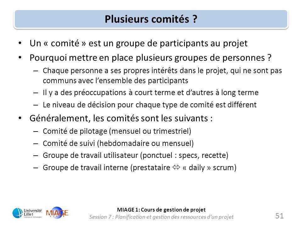 MIAGE 1: Cours de gestion de projet Session 7 : Planification et gestion des ressources d'un projet Plusieurs comités ? • Un « comité » est un groupe