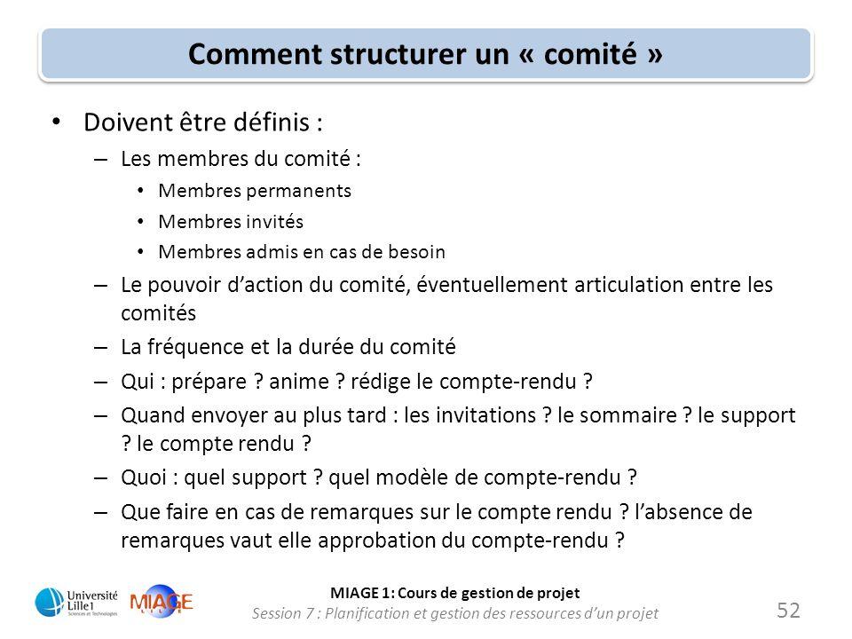 MIAGE 1: Cours de gestion de projet Session 7 : Planification et gestion des ressources d'un projet Comment structurer un « comité » • Doivent être dé