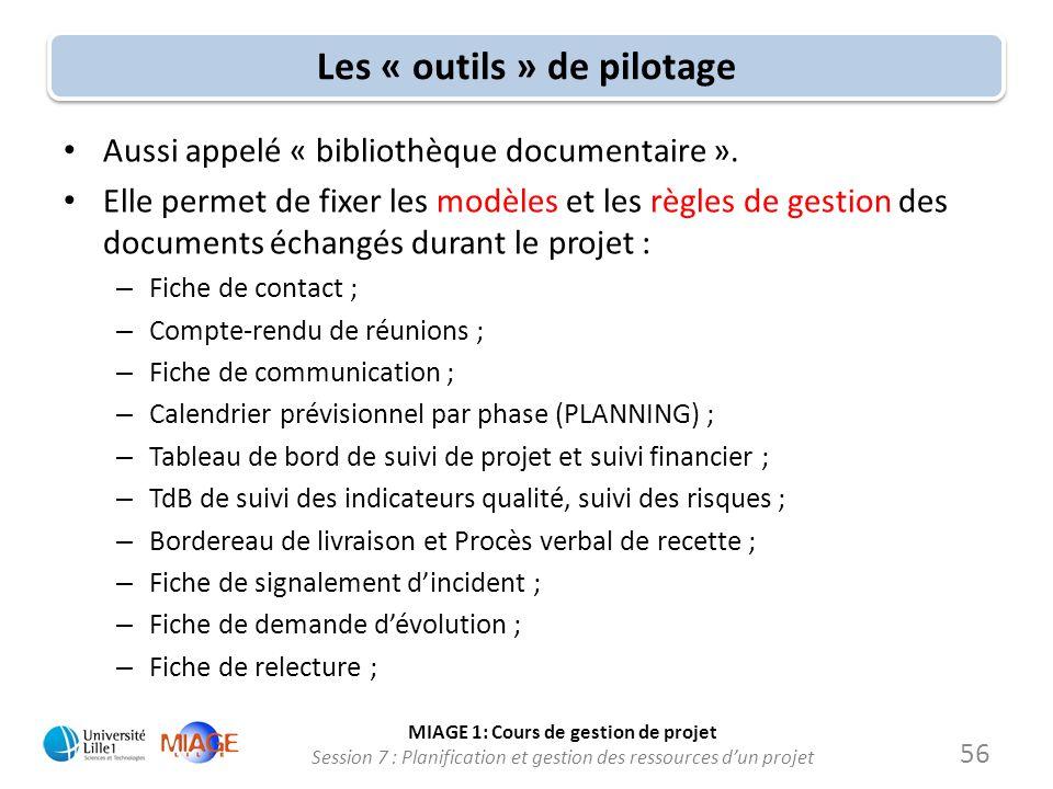 MIAGE 1: Cours de gestion de projet Session 7 : Planification et gestion des ressources d'un projet Les « outils » de pilotage • Aussi appelé « biblio