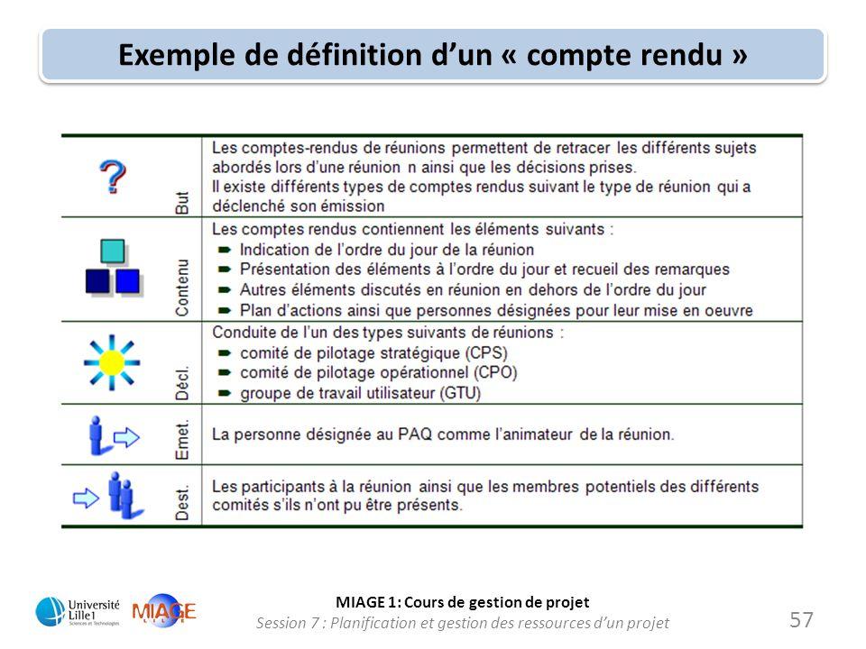 MIAGE 1: Cours de gestion de projet Session 7 : Planification et gestion des ressources d'un projet Exemple de définition d'un « compte rendu » 57