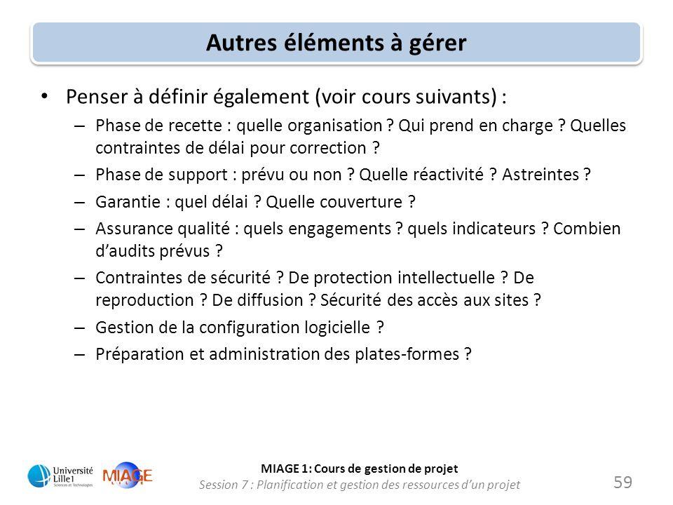 MIAGE 1: Cours de gestion de projet Session 7 : Planification et gestion des ressources d'un projet Autres éléments à gérer • Penser à définir égaleme