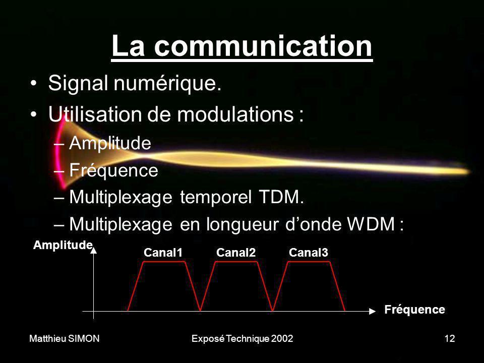 Matthieu SIMONExposé Technique 200212 La communication •Signal numérique. •Utilisation de modulations : –Amplitude –Fréquence –Multiplexage temporel T