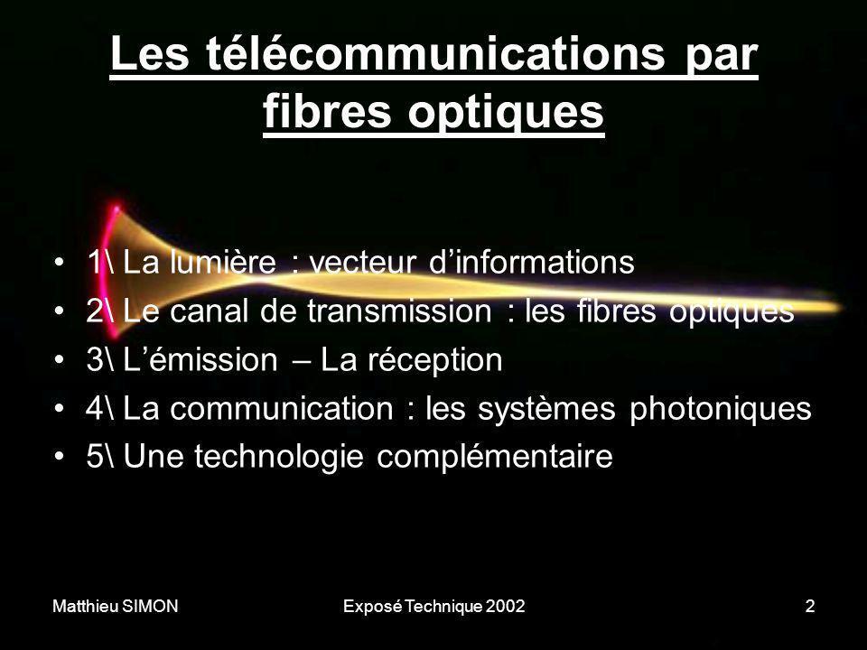 Matthieu SIMONExposé Technique 20022 Les télécommunications par fibres optiques •1\ La lumière : vecteur d'informations •2\ Le canal de transmission :