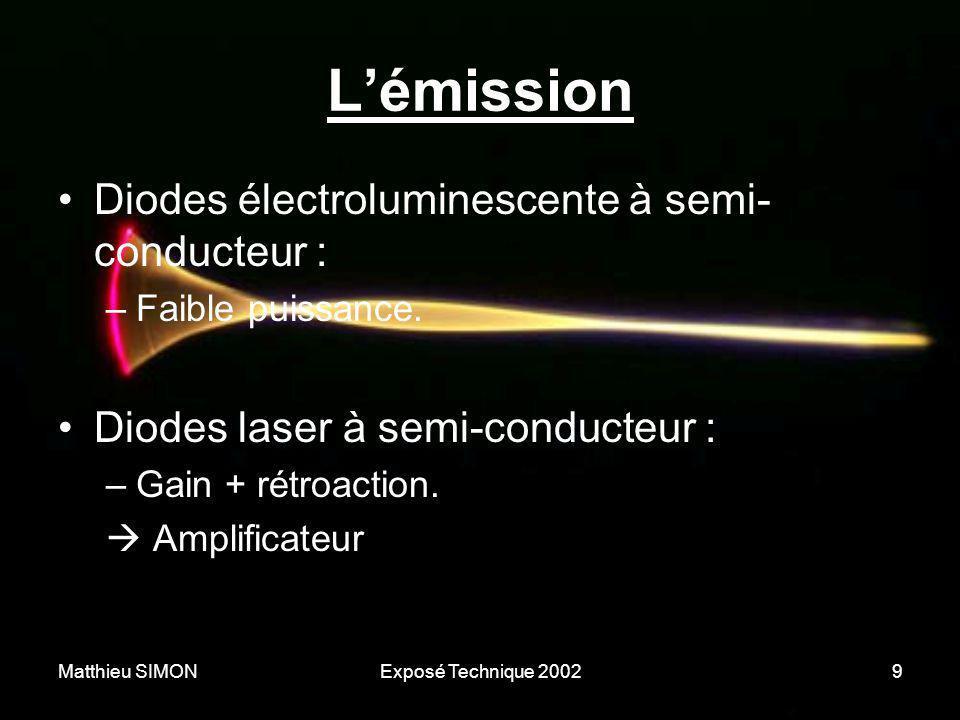 Matthieu SIMONExposé Technique 20029 L'émission •Diodes électroluminescente à semi- conducteur : –Faible puissance. •Diodes laser à semi-conducteur :