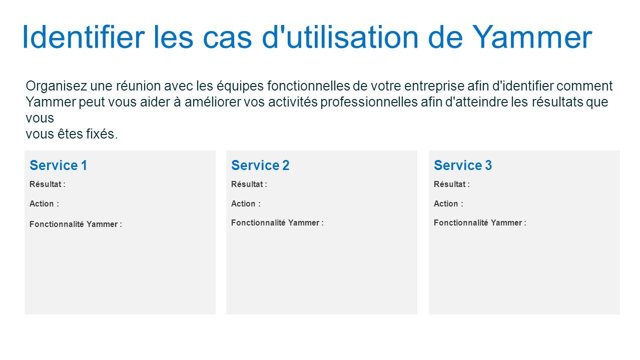 Identifier les cas d utilisation de Yammer Organisez une réunion avec les équipes fonctionnelles de votre entreprise afin d identifier comment Yammer peut vous aider à améliorer vos activités professionnelles afin d atteindre les résultats que vous vous êtes fixés.