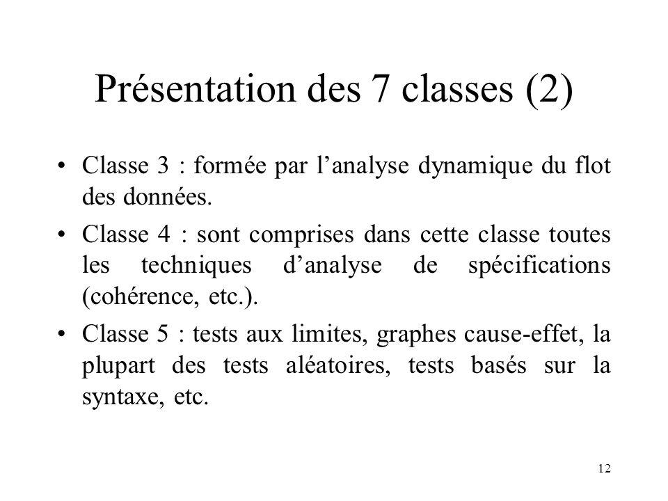 12 Présentation des 7 classes (2) •Classe 3 : formée par l'analyse dynamique du flot des données. •Classe 4 : sont comprises dans cette classe toutes