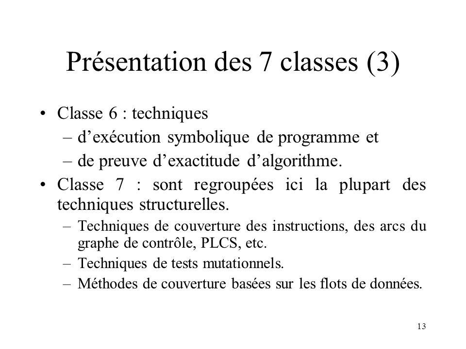 13 Présentation des 7 classes (3) •Classe 6 : techniques –d'exécution symbolique de programme et –de preuve d'exactitude d'algorithme.