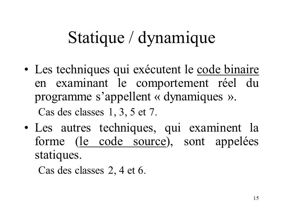 15 Statique / dynamique •Les techniques qui exécutent le code binaire en examinant le comportement réel du programme s'appellent « dynamiques ».