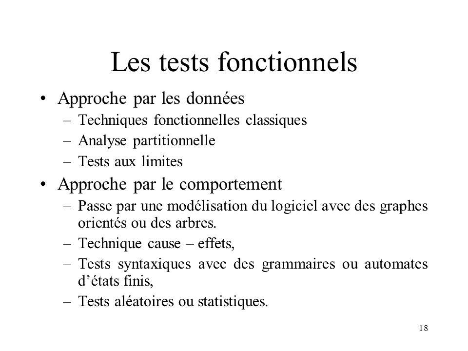 18 Les tests fonctionnels •Approche par les données –Techniques fonctionnelles classiques –Analyse partitionnelle –Tests aux limites •Approche par le comportement –Passe par une modélisation du logiciel avec des graphes orientés ou des arbres.