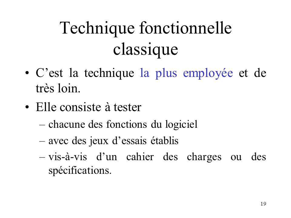 19 Technique fonctionnelle classique •C'est la technique la plus employée et de très loin. •Elle consiste à tester –chacune des fonctions du logiciel