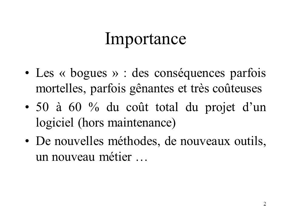 2 Importance •Les « bogues » : des conséquences parfois mortelles, parfois gênantes et très coûteuses •50 à 60 % du coût total du projet d'un logiciel