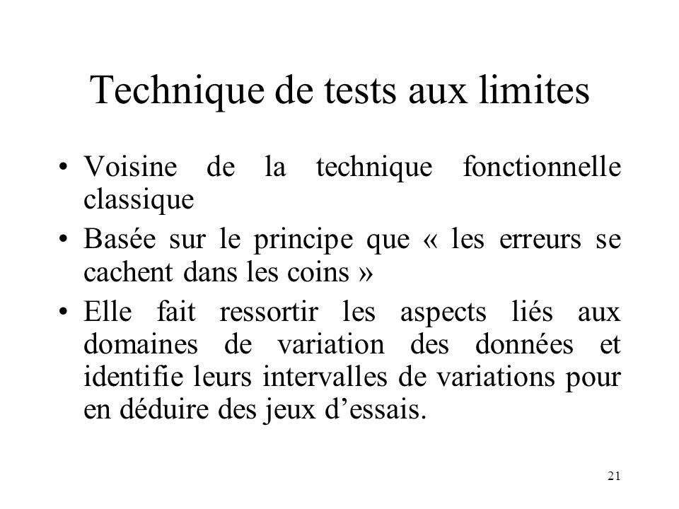 21 Technique de tests aux limites •Voisine de la technique fonctionnelle classique •Basée sur le principe que « les erreurs se cachent dans les coins » •Elle fait ressortir les aspects liés aux domaines de variation des données et identifie leurs intervalles de variations pour en déduire des jeux d'essais.