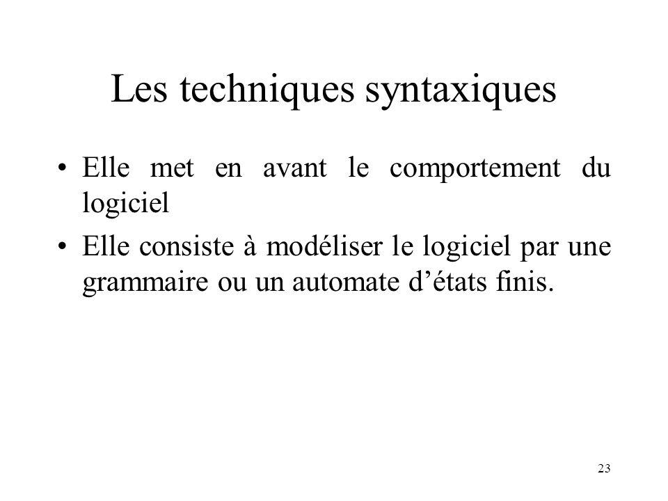23 Les techniques syntaxiques •Elle met en avant le comportement du logiciel •Elle consiste à modéliser le logiciel par une grammaire ou un automate d'états finis.