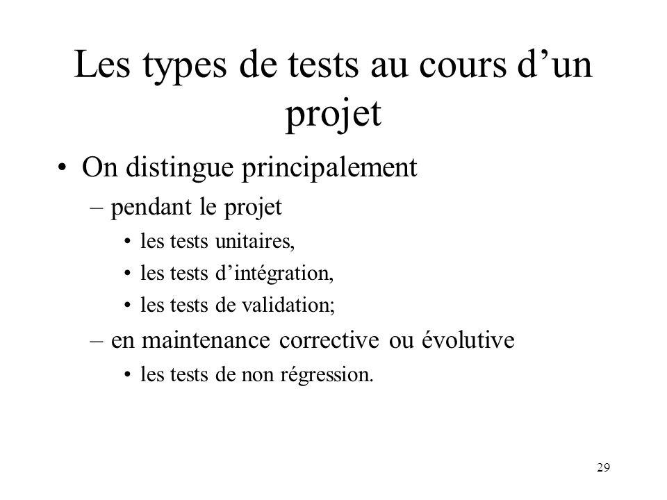 29 Les types de tests au cours d'un projet •On distingue principalement –pendant le projet •les tests unitaires, •les tests d'intégration, •les tests