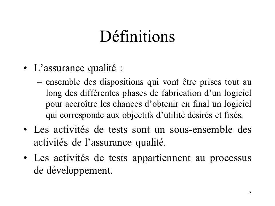 3 Définitions •L'assurance qualité : –ensemble des dispositions qui vont être prises tout au long des différentes phases de fabrication d'un logiciel pour accroître les chances d'obtenir en final un logiciel qui corresponde aux objectifs d'utilité désirés et fixés.