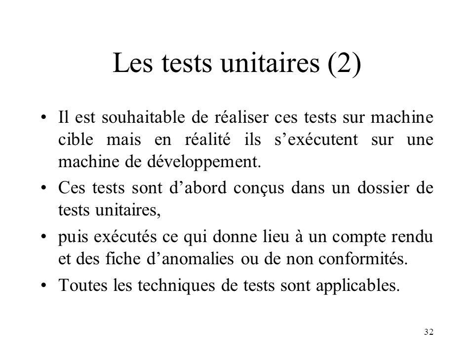 32 Les tests unitaires (2) •Il est souhaitable de réaliser ces tests sur machine cible mais en réalité ils s'exécutent sur une machine de développement.
