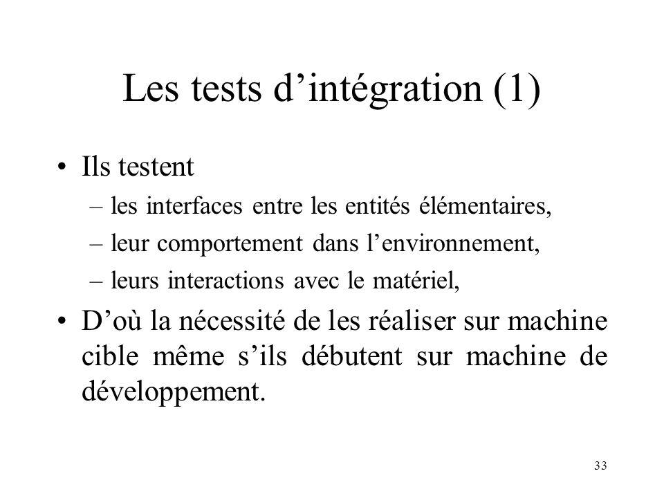 33 Les tests d'intégration (1) •Ils testent –les interfaces entre les entités élémentaires, –leur comportement dans l'environnement, –leurs interactions avec le matériel, •D'où la nécessité de les réaliser sur machine cible même s'ils débutent sur machine de développement.