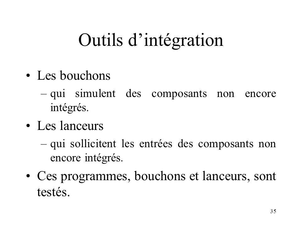 35 Outils d'intégration •Les bouchons –qui simulent des composants non encore intégrés. •Les lanceurs –qui sollicitent les entrées des composants non