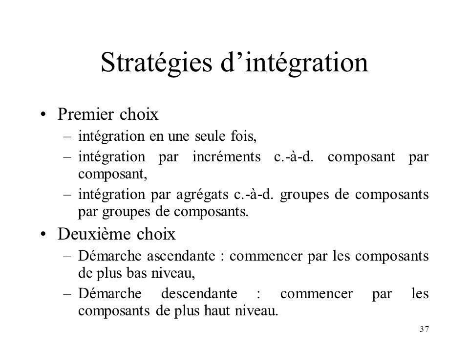37 Stratégies d'intégration •Premier choix –intégration en une seule fois, –intégration par incréments c.-à-d. composant par composant, –intégration p