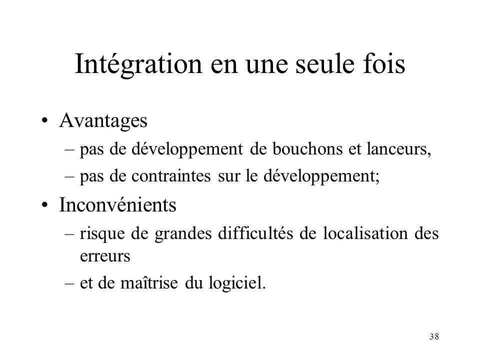 38 Intégration en une seule fois •Avantages –pas de développement de bouchons et lanceurs, –pas de contraintes sur le développement; •Inconvénients –risque de grandes difficultés de localisation des erreurs –et de maîtrise du logiciel.