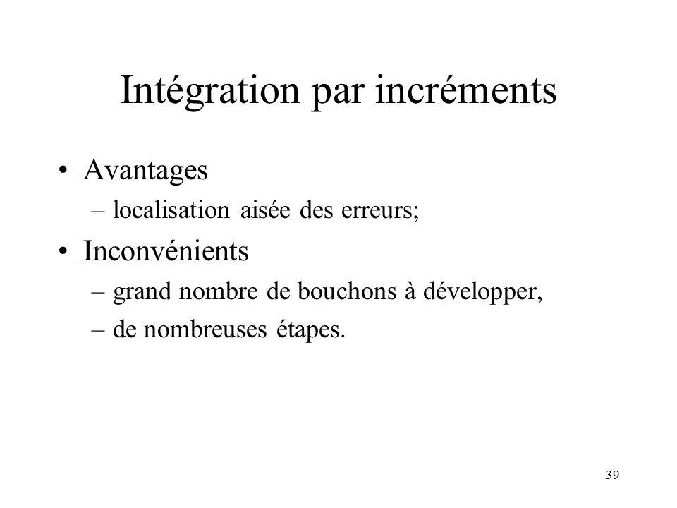 39 Intégration par incréments •Avantages –localisation aisée des erreurs; •Inconvénients –grand nombre de bouchons à développer, –de nombreuses étapes