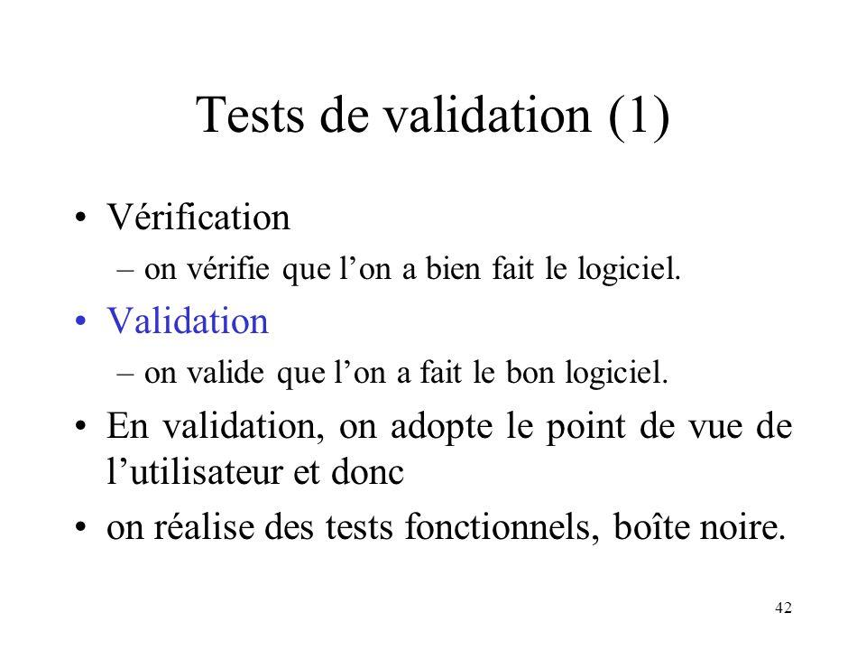 42 Tests de validation (1) •Vérification –on vérifie que l'on a bien fait le logiciel. •Validation –on valide que l'on a fait le bon logiciel. •En val