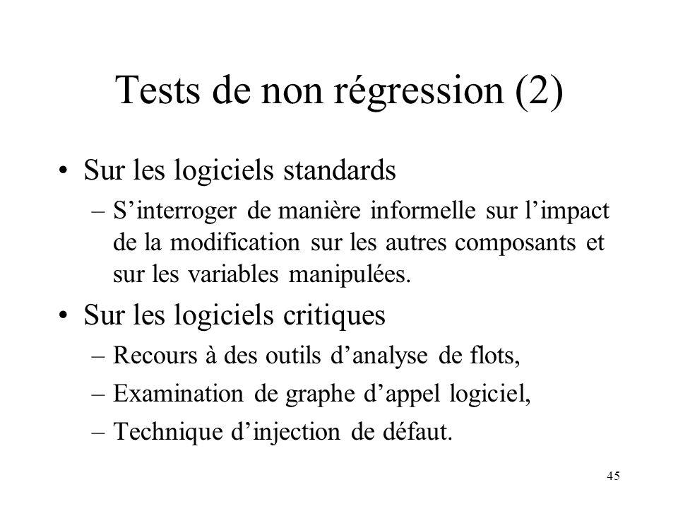 45 Tests de non régression (2) •Sur les logiciels standards –S'interroger de manière informelle sur l'impact de la modification sur les autres composants et sur les variables manipulées.