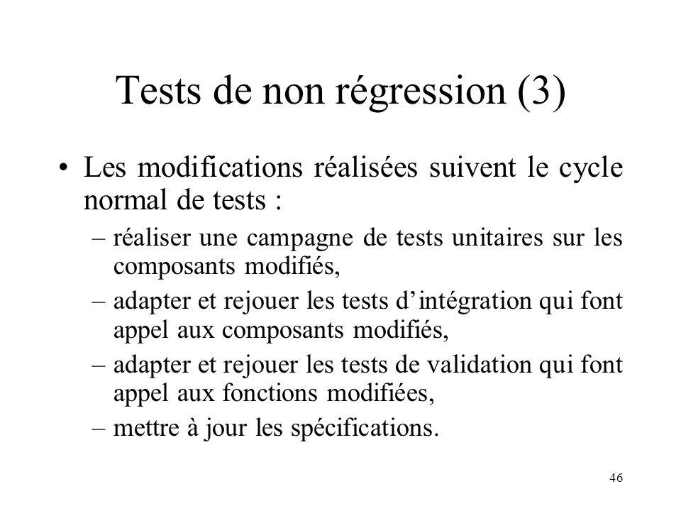 46 Tests de non régression (3) •Les modifications réalisées suivent le cycle normal de tests : –réaliser une campagne de tests unitaires sur les compo