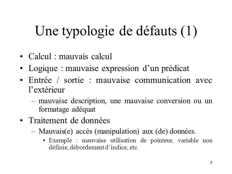 5 Une typologie de défauts (1) •Calcul : mauvais calcul •Logique : mauvaise expression d'un prédicat •Entrée / sortie : mauvaise communication avec l'