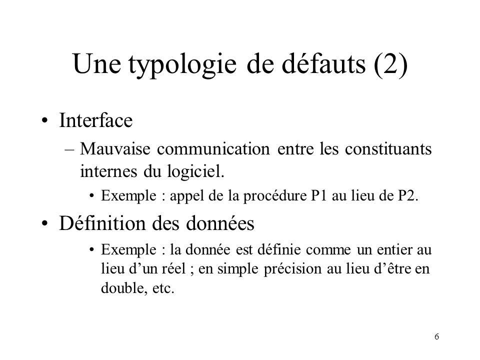 6 Une typologie de défauts (2) •Interface –Mauvaise communication entre les constituants internes du logiciel. •Exemple : appel de la procédure P1 au